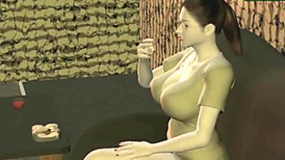 Animated babes sharing a hard dick