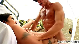 Hot Asian brunette gets her ass pummeled by two guys
