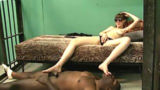 Black slave boy worships his white mistress's dirty feet