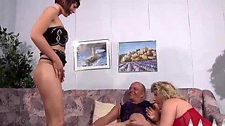 Brunette slut masturbates while her stud fucks a horny granny