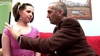 Ugly Russian girl Tanya gives head to disgusting old fart