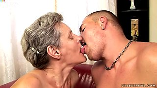 Horny grannie rides young dude reverse and face to face