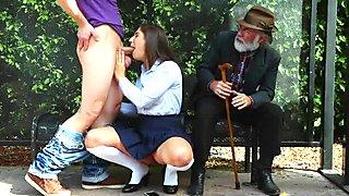 Slutty schoolgirl pounded in bus stop