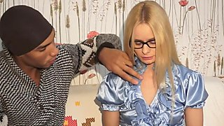 Amateur with glasses interracially banged