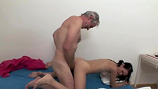 OLD FART FUCKING SEXY SLIM TEEN BRUNETTE