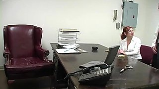 Boss persuade red heired secretary to give her head