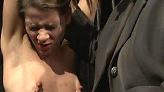 Lezdom mistress dominates over smalltit teen