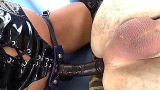 Asian dominatrix pegs sub and sucks his cock