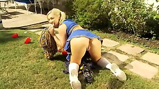 Blonde Cheerleader Ally Gets Fucked & Jerks