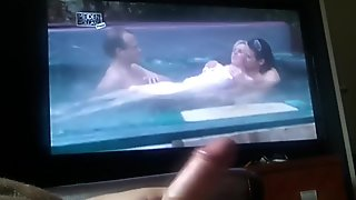 jerking hard cock  while watching jacuzzi sex
