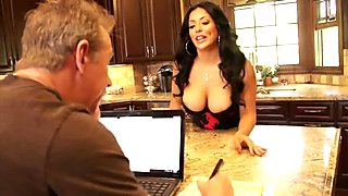 Sexy MILF in lingerie gets nailed in the kitchen