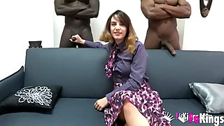 Aragne tastes her first double penetration with two black cocks