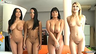 Horny and bootylicious babes getting horny for orgy during birthday party