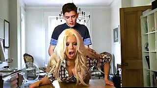 Young guy fucks his girlfriends blonde MILF stepmom