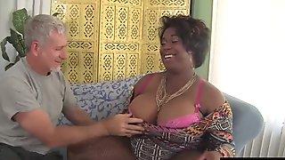 Black horny BBW Marlise Morgan enjoying a fat cock