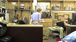 Skinny redhead babe drilled by pawn guy