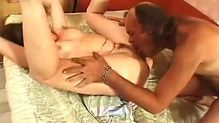 Mature chubby slut drilled deep in her anus missionary style