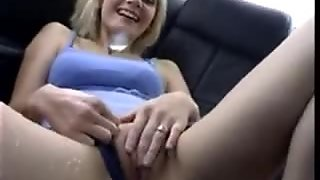 Pissing fun in back seat of moving car