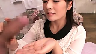 Tiny Japanese cfnm babe on knees sucking cock