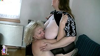Pale brunette chubby nympho lets mature blonde slut suck her boobies