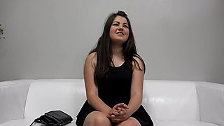 Chubby teenage babe sucks and fucks on casting