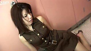 Asian gal Remi Kawamura sucking cock in a public toilet