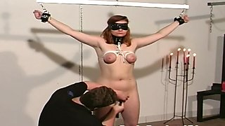 Pale redhead tortured boobs tied slave master