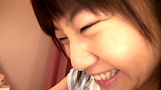 Japanese teen sucking cock before cum swallow