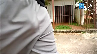 Grey Shorts Freeballing (Commando) flaccid cock swinging