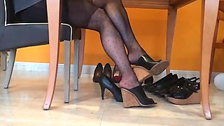 Dangling black nylons and heels