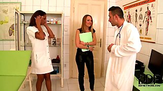 Two naughty girls share a doctors dick