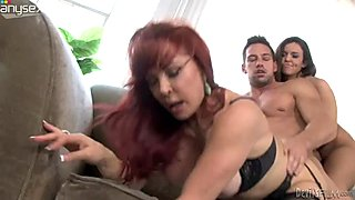 Horny stud bangs mature slut and young chick one after another in doggy style sex position