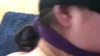Playing with her ass, spanking and teasing while blindfolded
