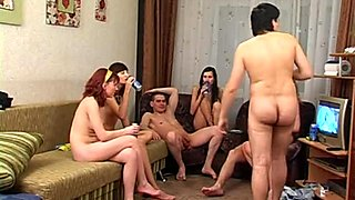 Crazy group sex on a birthday party