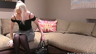Blonde gets balls deep anal fucked in casting