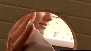 Weird bukkake at toilet gloryhole with masked girl