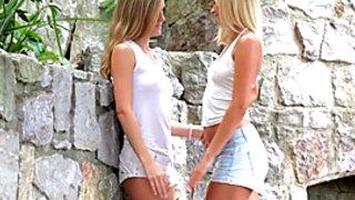 NubileFilms Hot blonde lesbians scissoring