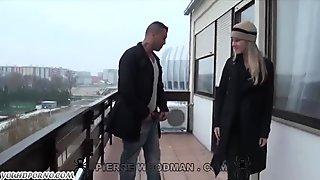 European hussy sucks dick on the balcony