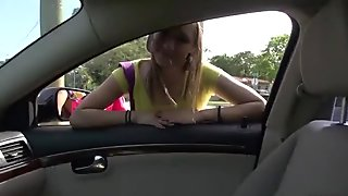 Teen cutie London Smith banged in a car