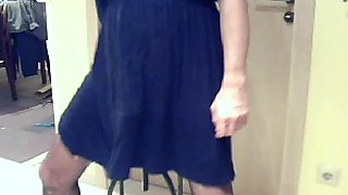 Cumming hard in Nylons and Cocktail dress