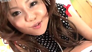 Smiling pretty Japanese cutie wins a chance to suck dude's cock for cum