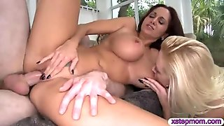 Ava Addams and Roxxi Silver threesome action on the couch