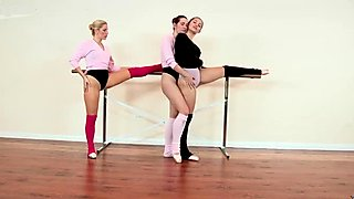 Three compelling prima ballerinas licking each other muffs