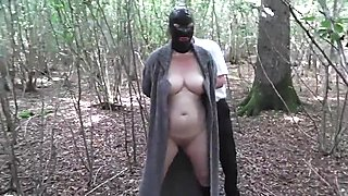 Slut Wife Hooded in Forest and Fucked by Stranger
