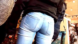 SPYING ON Teen tight curvy ass in jeans