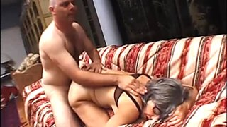 Grey haired slut boned brutally in a doggy position