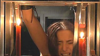 Redhead Lyen Parker struggles in bondage to escape