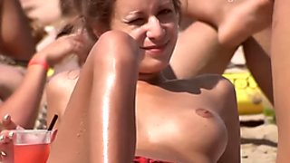 Lovely big boobs Topless on the Beach