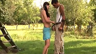 Nasty brunette whore fucked by Handicapped guy outdoors