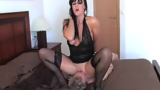 Lolly dominating guy by sitting on his face in stockings